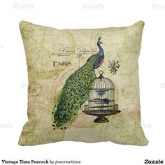 Vintage Time Peacock Throw Pillow