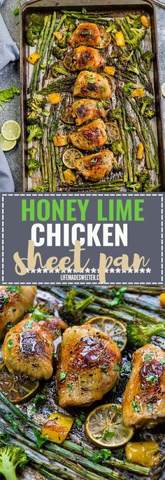 This Easy Honey Lime Chicken Sheet Pan recipe is the perfect easy dinner for busy weeknights. Best part of all made in just ONE sheet pan and full of tender asparagus and broccoli. Best of all is great for weekly Sunday meal prep or leftovers are great Lime Chicken Recipes, Honey Lime Chicken, Paleo Dinner, Dinner Recipes, Dinner Ideas, Healthy Meal Prep, Healthy Recipes, Keto Recipes, Sunday Meal Prep