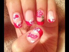 Valentine's Day Roses and Hearts Nail Art Tutorial