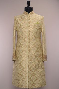 Pistachio Green Woven Brocade Wedding Sherwani-SH437