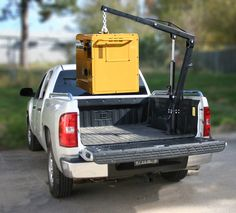 Make your pick up truck do the heavy lifting and save your aching back. With the Black Bull Pick Up Truck Crane you can easily lift up to pounds into your truck bed. Welding Trailer, Welding Trucks, Welding Rigs, Truck Mounted Crane, Truck Bed Accessories, Cranes For Sale, Truck Tailgate, Car Gadgets, Ford Ranger