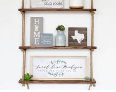 Home Decor & Gifts made by Simply Said by SimplySaidSheila on Etsy Pine Shelving Unit, Pine Shelves, Wood Pallet Signs, Rustic Wood Signs, Hanging Rope Shelves, Succulent Display, Rustic Wedding Gifts, Mountain Decor, Country Farmhouse Decor