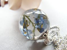 Forget me Not Necklace, Resin Orb, Blue Pressed Flower Necklace, Remembrance Necklace, Gift for Her