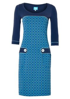 Tante Betsy kjole RETRO GO BLUE blå / dress Jersey Retro, Short Dresses, Dresses For Work, King Louie, Retro Fashion, Designer Dresses, Cold Shoulder Dress, Dress Shoes, High Neck Dress