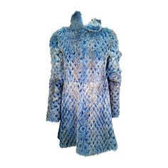 Alexander McQueen Electric Blue with Espresso Tip Laser Cut Mink Coat | From a collection of rare vintage coats and outerwear at https://www.1stdibs.com/fashion/clothing/coats-outerwear/