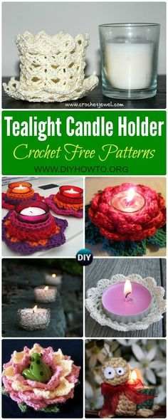 Collection of Crochet Tealight Candle Holder Free Patterns: Crochet Candle Holder, Crochet Tealight holder, Crochet Tealight Cozy   via @diyhowto