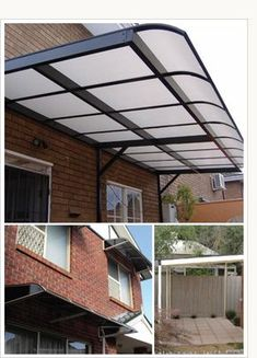 Polycarbonate Awnings that protect from rain, but let light in.