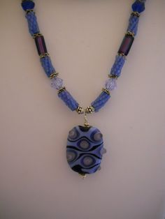 Necklace: Teal Beaded Beads, Swarovski Crystals, Sterling Silver, Lampwork Glass with Bubble Effect  $90