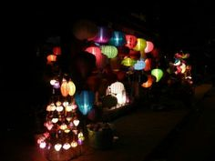 shop with colorful lamps in Vietnam