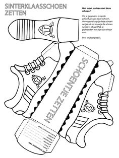 Sinterklaasschoen - Knutselpagina.nl - knutselen, knutselen en nog eens knutselen. Shoe Template, Paper Box Template, Box Templates, Shoe Crafts, Paper Crafts, Diy For Kids, Crafts For Kids, Children Crafts, Art Style Challenge