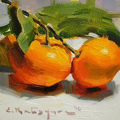 A Branch of Mandarins by Elena Katsyura Oil ~ 6 in x 6 in