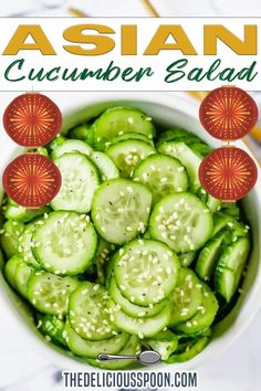 Crispy sliced cucumbers in an Asian inspired vinaigrette that is so simple to prepare you will likely want to make this all the time as a quick alternative to a side salad. Rice Wine vinegar, sesame oil, salt and pepper… that's all! | The Delicious Spoon @thedeliciousspoon #asiansalad #asiancucumbersalad #asianrecipes #sidedish #partyfood #newyearseverecipes #easysidedish #gourmetsides #cucumber #asian #thedeliciousspoon Healthy Living Recipes, Healthy Salad Recipes, Clean Eating Recipes, Whole Food Recipes, Healthy Meals, Snack Recipes, Quick Dinner Recipes, Quick Meals, Asian Cucumber Salad