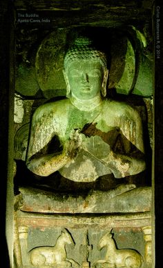 The Buddha.   Ajanta Caves, India.