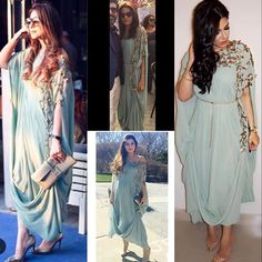 Perfect for spring our highly coveted mint kaftans Pakistani Formal Dresses, Indian Dresses, Indian Outfits, Indian Clothes, Lehnga Dress, Caftan Dress, Lehenga, Drape Gowns, Maxi Gowns
