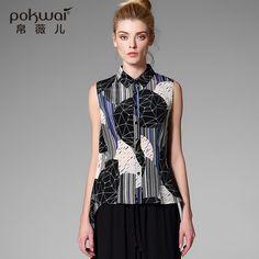 Pokwai Casual Silk Shirts Women Tops 2017 Brand Quality Sleeveless Blouse Stand Collar Undies Overshirt Print Chiffon Ladies Top
