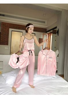 Pink Striped Satin Pyjamas - Aladdin's Box . Satin Pyjama Set, Satin Pajamas, Pyjamas, Pink Silk Pajamas, Cute Pajama Sets, Cute Pajamas, Cute Sleepwear, Sleepwear Women, Silk Sleepwear