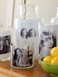 Portafotos con recipientes de cristal