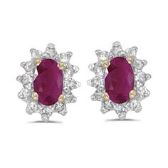 14k Yellow Gold July Birthstone Oval Ruby And Diamond Earrings