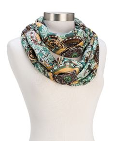 Great colors for Spring! Howard's Circle Print Infinity Scarf