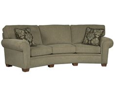 Miller Conversation Sofa   Eye-catching, customizable decorator style is well within reach, thanks to the Miller Conversation Sofa. It offers ample seating, box-bordered backs, large-scale rolled arms, and tapered feet.