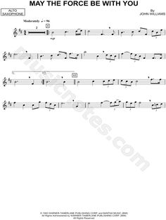 """May the Force Be With You - Alto Sax"""" from 'Star Wars' Sheet Music ..."""