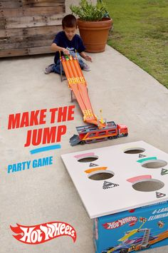 Get the competition going at your Hot Wheels house party with this easy DIY Hot Wheels game. Cut holes in cardboard or wood, set up a 4-Lane Elimination Race and let kids send their Hot Wheels flying! Find out how to make this party game here.