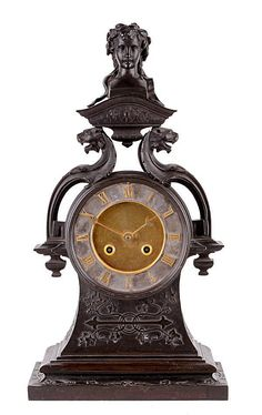 French patinated bronze mantel clock, unsigned, c.1880, eight-day countwheel bell striking movement