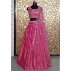 Party Wear Indian Dresses, Prom Dresses, Formal Dresses, Silk Lehenga, Pink Satin, Dress Patterns, Crop Tops, How To Wear, Beautiful
