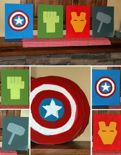 Some cool Avenger Party ideas!!! And he could use these for room decorations.