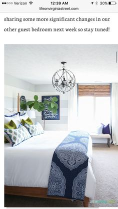 Clean fresh bedroom white bedding, navy blue paisley throw, Doxology canvas, fiddle leaf fig tree, chartreuse velvet pillows and hickory wood bed via Decked and Styled Spring Home Tour - Life On Virginia Street Bedroom Color Schemes, Bedroom Colors, Dream Bedroom, Home Decor Bedroom, Bedroom Ideas, Modern Bedroom, Diy Bedroom, Design Bedroom, Bedroom Wall