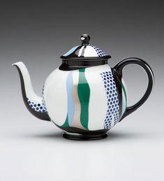 "Roy Lichtenstein (American, 1923-1997) Rosenthal (Germany) Teapot 1984 porcelain 7 x 9.75 x 5.75"" Photo: David H. Ramsey. 1998.88"