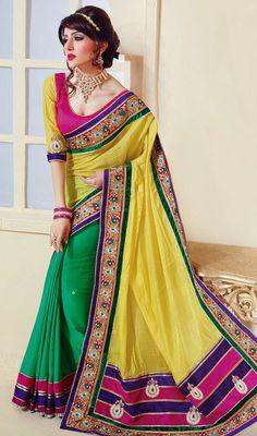 Green and Yellow Shimmer Satin Half N Half Saree Price: Usa Dollar $126, British UK Pound £74, Euro93, Canada CA$135 , Indian Rs6804.