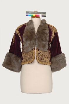 Velvet kontochi, sleeved gold embroidered jacket