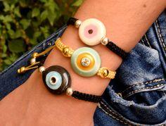 υπέροχα βραχιόλια με ματάκια κεραμικά Washer Necklace, Ceramics, Bracelets, Jewelry, Ceramica, Pottery, Jewlery, Jewerly, Schmuck
