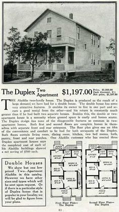 Aladdin House Plans For 1916 - The Duplex. Both first and second floors are complete homes in themselves with separate front and rear entrances. Both floors contain living room, dining room, kitchen, two bed rooms, bath, pantry, front and rear porches.