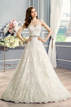 moonlight couture bridal fall 2016 h1283 straples full a line alencon lace wedding dress