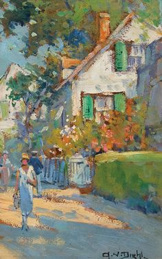"""A Stroll Through Town,"" Arthur Diehl, oil on board, 11 3/4 x 7 1/2"", private…"