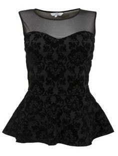 Black Baroque Print Mesh Peplum Top - Evening & Party Tops - Womens | New Look