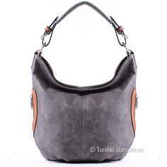 Szara torebka z jasnobrązowymi elementami - średniej wielkości worek na ramię lub do przewieszenia, 36 x 28 cm. Zobacz więcej zdjęć: http://torebki-damskie.eu/worki/1344-torebka-popielata-z-jasnobrazowymi-elementami.html