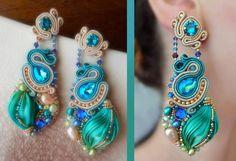 Shibori soutache earrings
