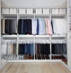 43 Highly Organized Closet Ideas - Dream Closets Organizing Walk In Closet, Ikea Closet Organizer, Storage Room Organization, Closet Storage, Storage Ideas, Organization Ideas, Bedroom Storage, Wardrobe Storage, Bed Storage