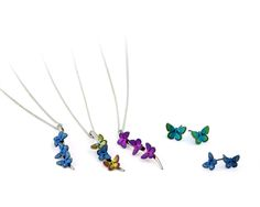 Colourful titanium anodised butterfly earrings and pendants.  Visit Prism Design's Ti2 Titanium brand on stand 18DQ13 to see our new designs & our SECRETS REVEALED films. www.prism-design.co.uk