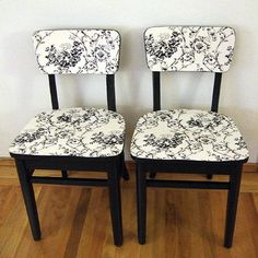 I've seen lots of chair makeovers that include recovering seats with upholstered fabric, but this technique of using decoupage to adhere the fabric from Crafty Nest is a nice alternative.