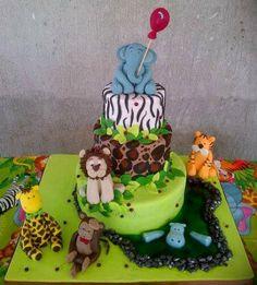 Jungle animals Cake. 100% edible and Handmade