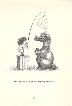 1962 Thelwell Cartoon Print - Long Hours Of Patient Training