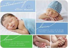Boy Photo Birth Announcements Written News - Front : Blue