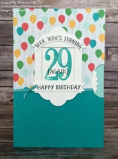 Kirsteen's interactive card with video: Number of Years, Cherry on Top dsp, Lots of Labels framelits - all from Stampin' Up!