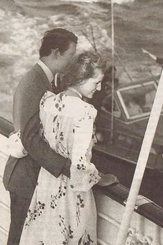 The Prince and Princess of Wales on their honeymoon cruise aboard The Britannia in 1981.