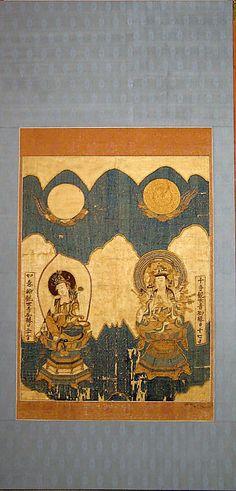 Two Bodhisattvas  Period: Meiji period (1868–1912) Culture: Japan Medium: silk embroidery Classification: Textiles-Embroidered