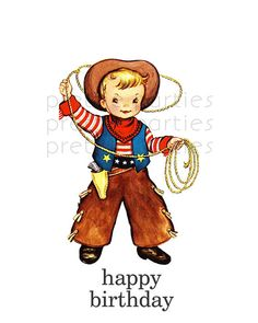 This listing is for a set of PRINTABLE LITTLE COWBOY Birthday | Thank you Tags    The PDF file includes :    (6) Vintage Flashcard inspired LITTLE